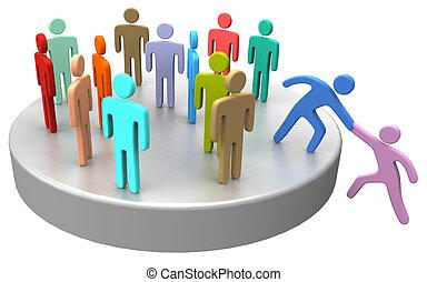 ensamblar, ayuda, empresarios, arriba, social