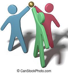 ensamblar, colaborar, trabajo en equipo, gente, manos