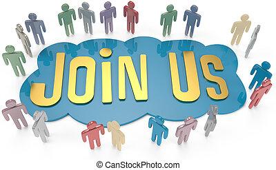 ensamblar, invitar, empresarios, nosotros, social, o