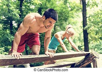 ensayo, pareja, ejercitar, condición física