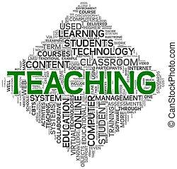 enseñanza, concepto, etiqueta, nube