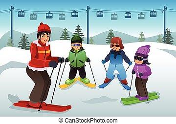 enseñanza, instructor, esquí, niños