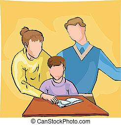 enseñanza, padres, su, niño