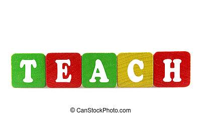 enseñar, -, aislado, texto, en, de madera, componentes básicos