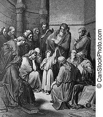 enseñar, templo, jesús
