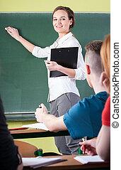 enseignante, pendant, travail