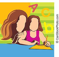 enseignement, fille, elle, mère