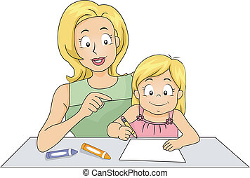 enseignement, fille, maman