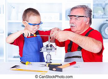 enseignement, grand-père, petit-enfant, grinçant