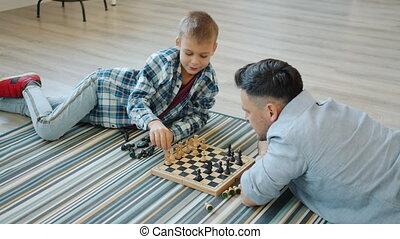 enseignement, intelligent, aimer, échecs, gosse, enfant, ...