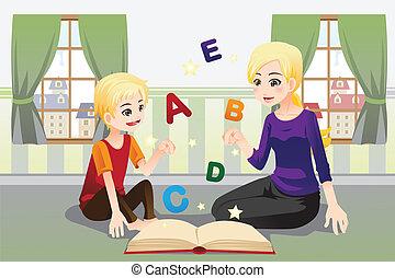 enseignement, mère, elle, enfant