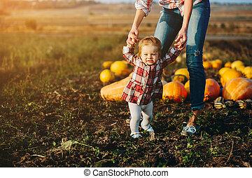 enseignement, mère, fille, elle, promenade