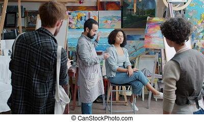 enseignement, modèle, parler, peinture, classe, quoique, prof, poser, groupe, étudiants