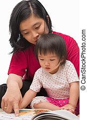 enseignement, petite fille, elle, mère