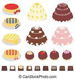 ensemble, à, desserts