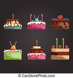 ensemble, à, différent, gâteau