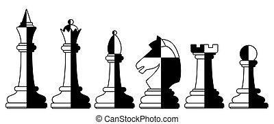 ensemble, échecs, illustration