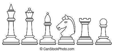 ensemble, échecs, illustration, contour
