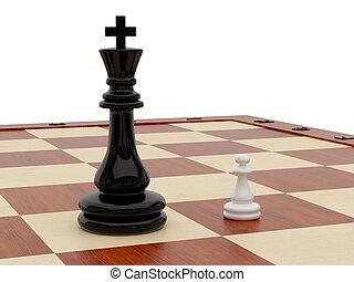 ensemble, échecs, une