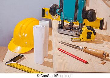ensemble, échelle bois, étapes, charpenterie, outils, vue