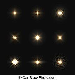 ensemble, éclats (flares), isolé, lentille, arrière-plan., vecteur, noir