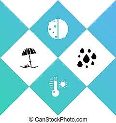 ensemble, éclipse, eau, soleil, parapluie, vecteur, goutte, plage, thermomètre, icon., météorologie, protecteur