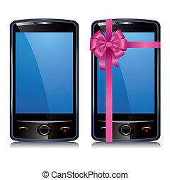 ensemble, écran, deux, téléphone, toucher, intelligent