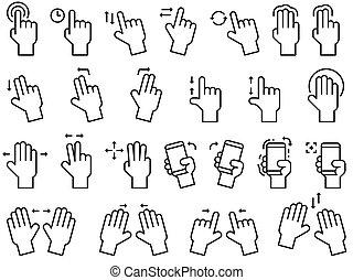 ensemble, écran, main, gestes, application, toucher, ligne, interface, ou, icône