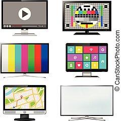 ensemble, écran tv, isolé, fond, blanc