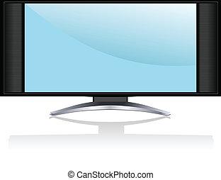 ensemble, écran tv, lcd, plasma, ou