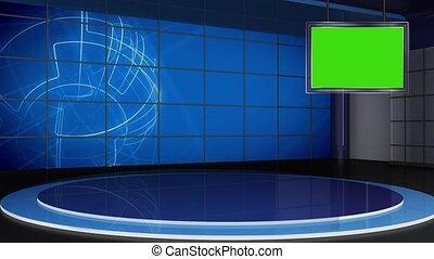 ensemble, écran tv, virtuel, 310-, arrière-plan vert, nouvelles, studio, boucle