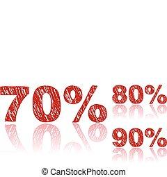 ensemble, écrit, pourcentages, -, vente, craie, 3, rouges