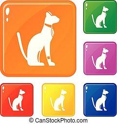ensemble, égyptien, couleur, icônes, chat, vecteur