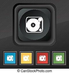 ensemble, élégant, symbole., texture, coloré, boutons, vecteur, noir, vinyle, phonographe, cinq, icône, ton, design.
