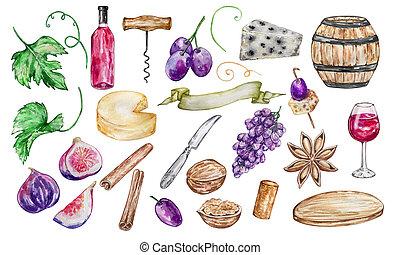 ensemble, éléments, aquarelle, vin