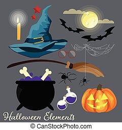 ensemble, éléments, halloween, symbols.