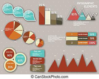 ensemble, éléments, infographics