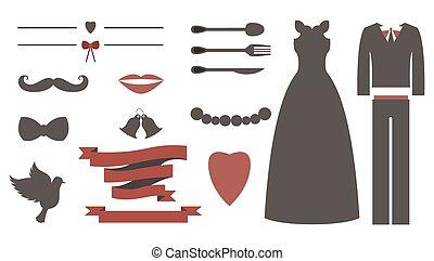 ensemble, éléments, vendange, mariage, conception, invitation, toolkit., concepteurs