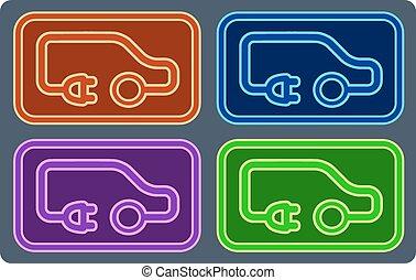 ensemble, électrique, coloré, véhicule