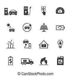 ensemble, électrique, icônes, apparenté, vecteur, voiture., conception, icône
