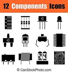ensemble, électronique, composants, icônes
