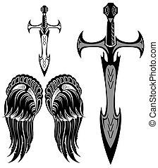 ensemble, épées, ailes