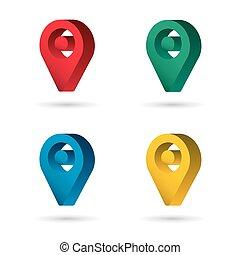 ensemble, épingle, couleur, maping, emplacement, 3d