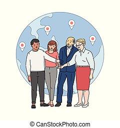 ensemble, équipe, joindre, globe, mains, dessin animé, gens arrière-plan
