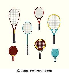 ensemble, équipement, badminton, tennis, -, raquettes, plate-forme, jeu, grand, table, sport, plage