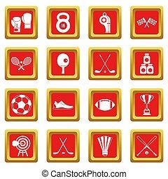 ensemble, équipement, rouges, sport, icônes