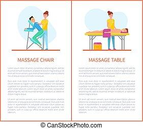 ensemble, équipement, table, chaise, dessin animé, masage
