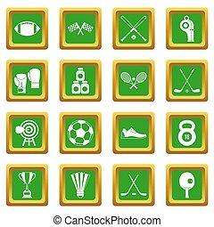 ensemble, équipement, vert, sport, icônes