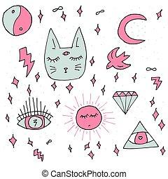 ensemble, ésotérique, cosmique, -, hand-drawn, vecteur, griffonnage, chat, éléments, style