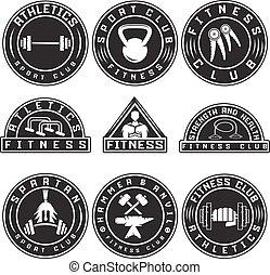 ensemble, étiquettes, éléments, conception, fitness, divers